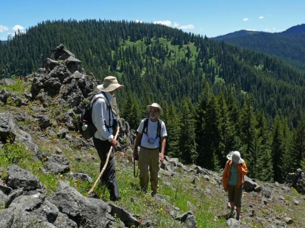 John, Clay, and Gail on the floriferous, steep, rocky bald.