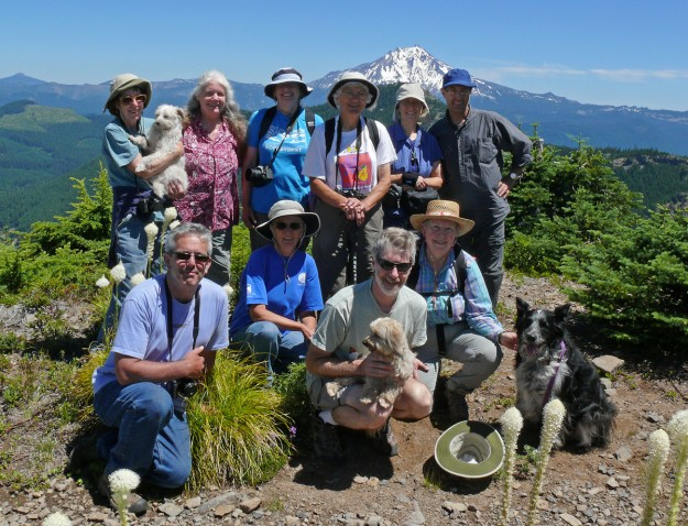 Our annual group portrait, taken at the summit. Back, left to right: Kathy and her dog Juan, Kristy, Kelley, Margaret, Chris, and Yahgoub; front, left to right: Peter, Lynette, my husband Jim holding Kathy's dog Paco, Robin and her dog Austin. And, of course, I'm behind the camera—where I prefer to be!