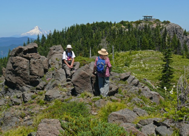 Camping nearby meant we had lots of time to relax and catch up with old friends. Margaret and Kristy are hanging out on the ridge between the lookout and the tower. Mt. Hood can be seen in the distance on the left.