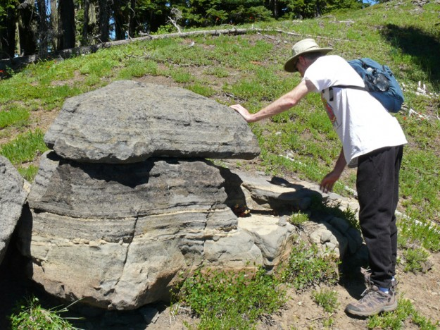 My husband Jim was intrigued by the way the rocks were eroding and undercutting layers, creating boulders on the top.