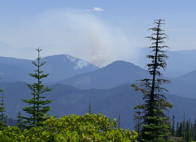 Th e Bunker Hill Complex fire burning north of Lemolo Lake. It had been burning for 4 days.
