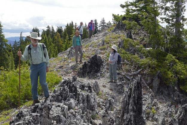Along the rocky spine of Potter Mountain. Left to right: Rob, Kathy, Peter, Kelley, and Keiko.