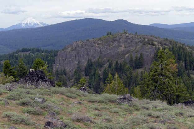 From Hobart Peak, there is a great view of cliffy Hobart Bluff and Mt. McLoughlin in the distance.