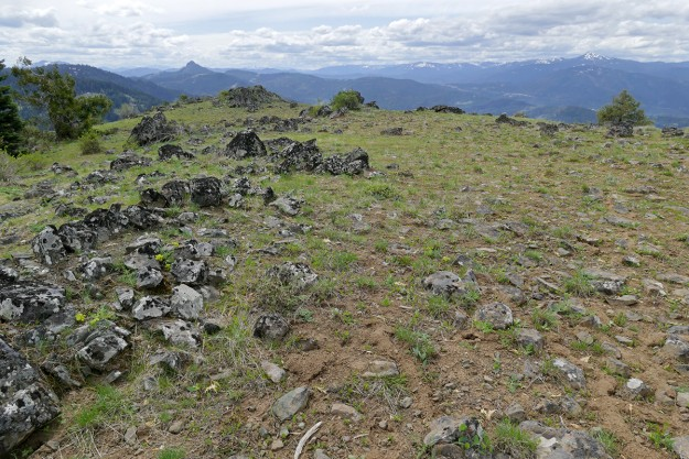 Looking west from the summit of Hobart Peak, you can see snowy Mt. Ashland and the rocky knob of Pilot Rock, farther southwest along the PCT.