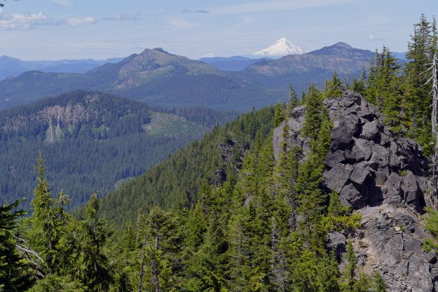 The view from the summit was spectacular on this clear day. Looking north we had a clear view of Mt. Hood and even Mt. Saint Helens framed by Coffin Mountain (left) and Bachelor Mountain.