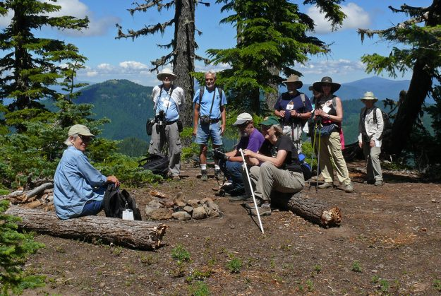Most of our Saturday group on the summit just above the cliff on Lowder.