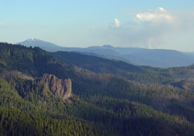 Sliver Rock and Crater Lake forest fire